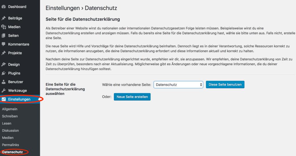 Screenshot der neuen Funktion in WordPress: Einstellungen > Datenschutz