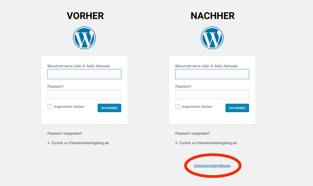 WordPRess Screenshot: Login ohne Link zum Datenschutz vs. Login mit Link