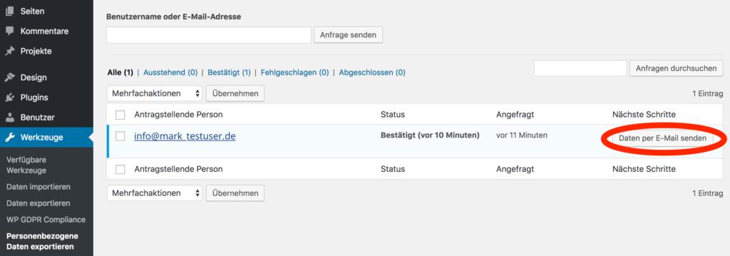 WordPress Screenshot: Personenbezogene Daten exportieren - Daten senden