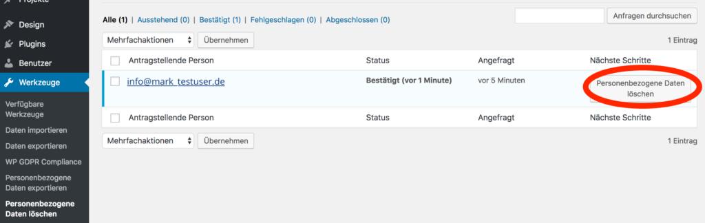 WordPress Screenshot: Personenbezogene Daten exportieren - Daten löschen