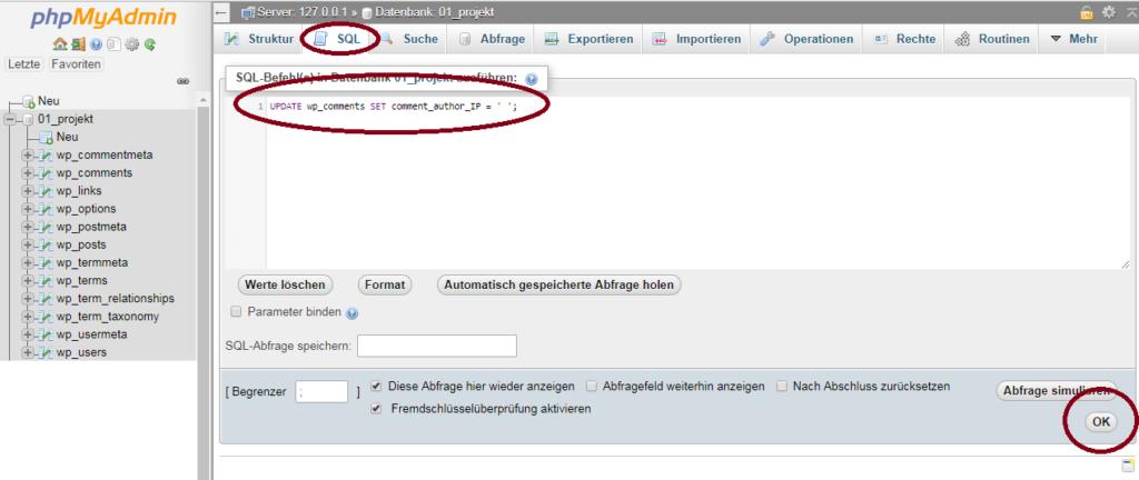 WordPress Kommentare - IP Adressen löschen
