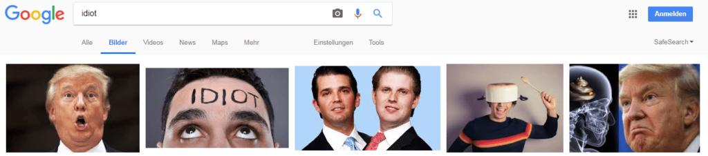 Suchergebnisse in der Google Bildersuche - Keyword: Idiot