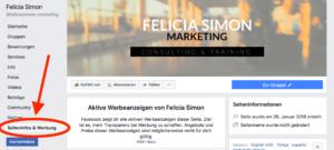 Facebook Seiteninfos und Werbung im Browser am Desktop