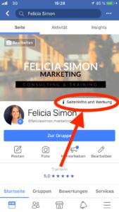 Seiteninfos und Werbung auf Facebook