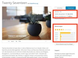 Kostenloses WordPress Theme Twenty Seventeen mit allen Theme-Informationen