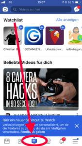 Facebook Watch in der mobilen Version