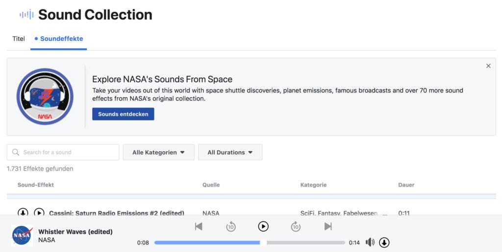 Facebook Screenshot: NASA in der Sound Collection