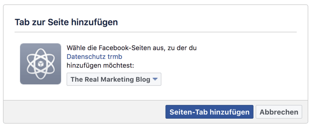 Screenshot Facebook Developer: Tab zur Seite hinzufügen