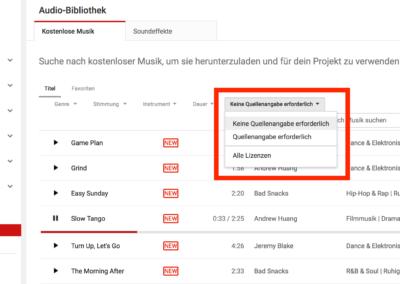 Screenshot YouTube Audio Library: Filter für lizenzfreie Musik