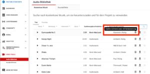 Screenshot YouTube Audio Library: Icon für Musik mit besonderen Bestimmungen