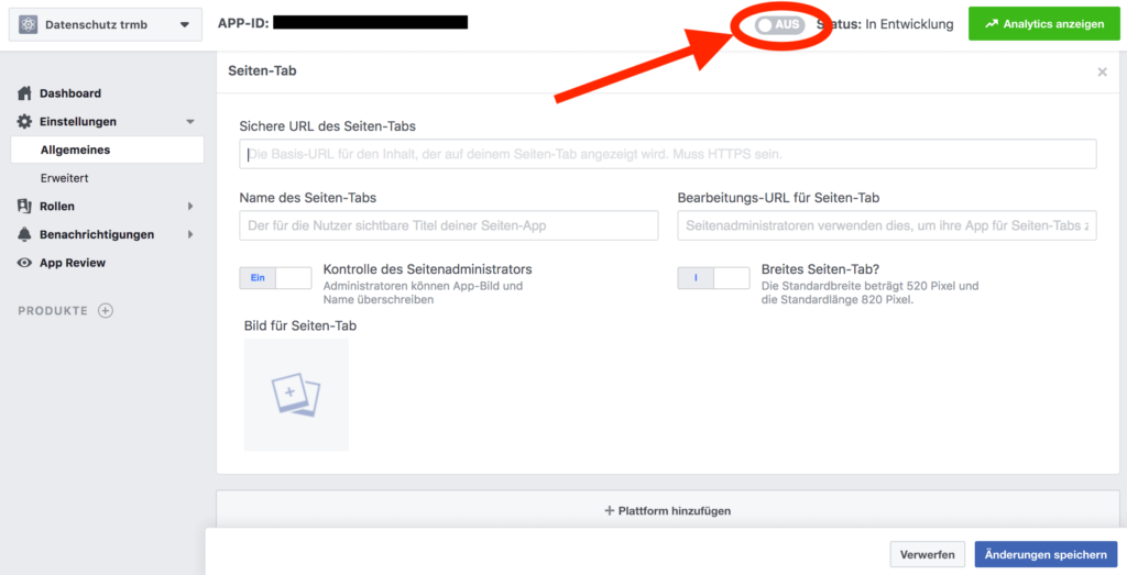 Screenshot Facebook Developer: Seitentab aktivieren