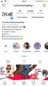 Instagram Screenshot: Instagram Bio formatieren