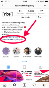 Screenshot Instagram Bio -Link