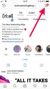 Instagram Screenshot: Blauen Haken beantragen
