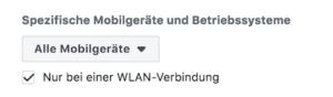 Screenshot vom Facebook Werbeanzeigenmanager: Geräte