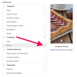 Screenshot vom Facebook Werbeanzeigenmanager: Plattformauswahl