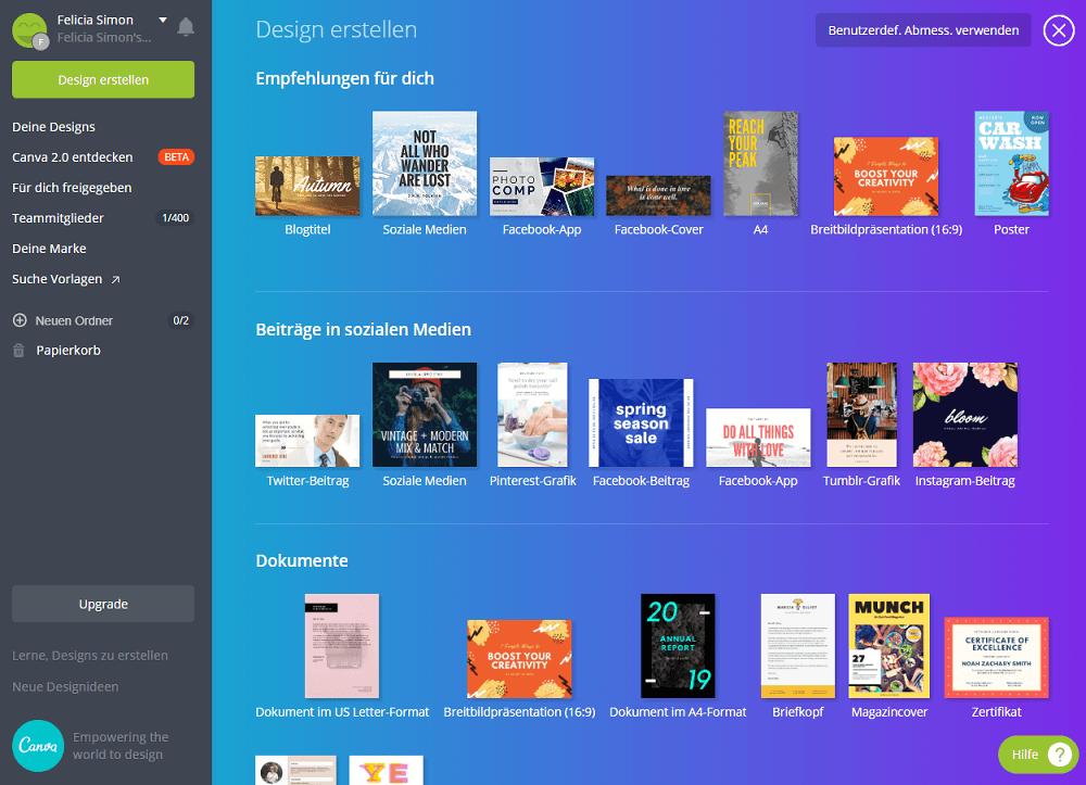 Screenshot von dem kostenlosen Bildbearbeitungsprogramm Canva mit einer Auswahl verschiedener Designs.