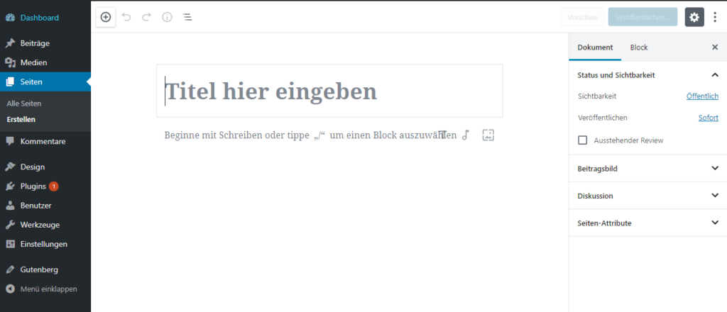 Gutenberg Editor WordPress - Screenshot