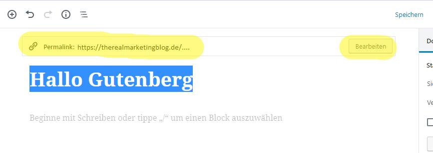 Seitentitel & Permalinks in Gutenberg