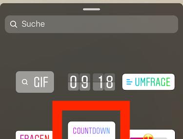 Instagram Screenshot - Countdown Sticker auswählen