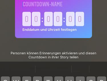 Instagram Screenshot - Farbe des Countdown-Stickers anpassen