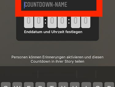 Instagram Screenshot - Titel anpassen im Countdown Sticker