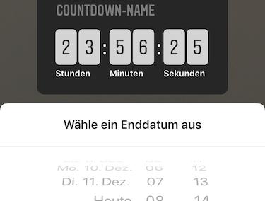 Instagram Screenshot - Datum für den Countdown Sticker festlegen