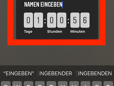 Instagram Screenshot - Countdown Sticker positionieren