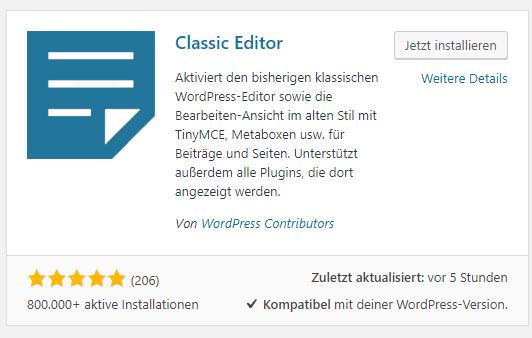 Screenshot - WordPress Plugin: Classic Editor