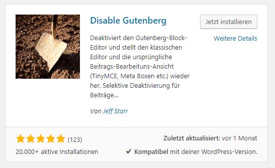 Screenshot - WordPress Plugin: Disable Gutenberg
