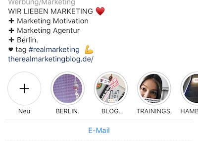 Enge Freunde auf Instagram