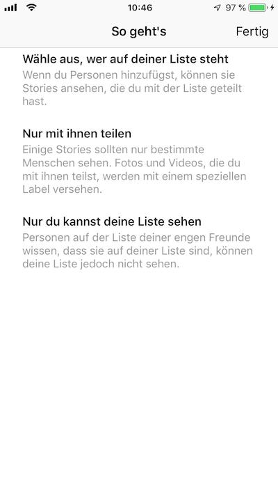 Instagram Screenshot: Enge Freunde - So geht's