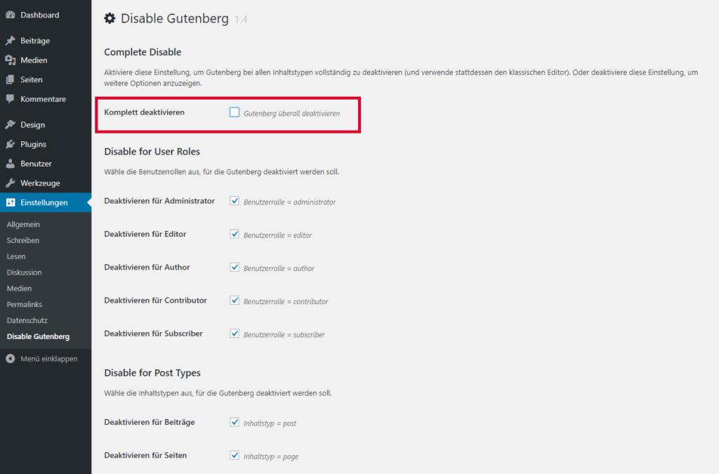 Screenshot PWp Plugin - Disable Gutenberg