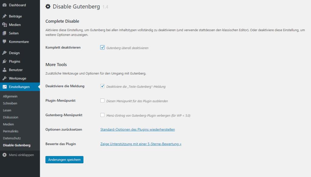Screenshot WP Plugin Disable Gutenberg - Einstellungen