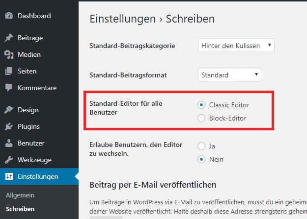 Gutenberg deaktivieren und zurück zum alten Editor