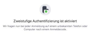 FB Screenshot: Zweistufige Authentifizierung ist aktiviert