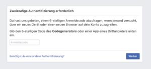 Facebook Screenshot: Zweistufige Authentifizierung