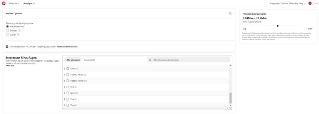 Pinterest Screenshot: Interessen
