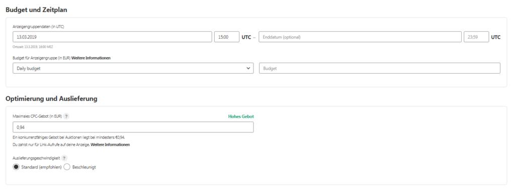 Pinterest Screenshot: Budget, Zeitplan, Optimierung & Auslieferung