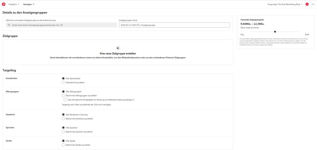 Pinterest Screenshot: Zielgruppe und Targeting Optionen
