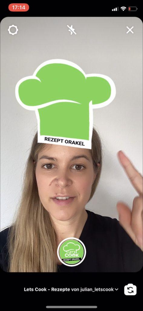 Instagram Screenshot: Startbildschirm vom Rezept-Orakel Filter