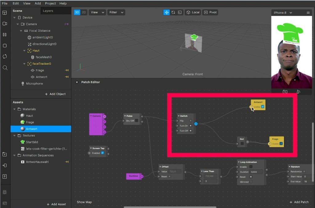 Der Switch in Spark AR Studio
