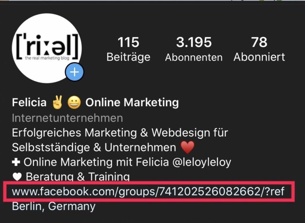Instagram Pofil mit Facebook Gruppe als Link in Bio