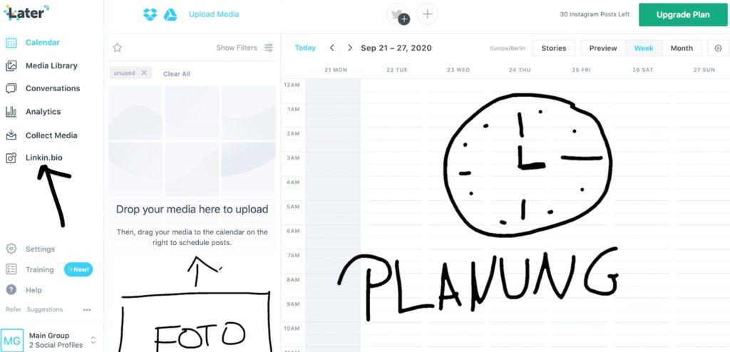 Screenshot von Instagram Planungstool Later